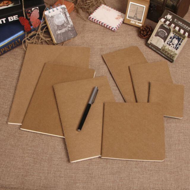 Kraft Paper Plain Sketchbook Diary Blank Notepad Book Vintage Journal Notebook#
