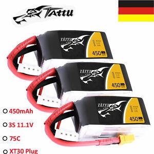 3X-11-1V-450mAh-3S-75C-RC-Lipo-Batterie-Akku-Fuer-Multirotor-FPV-150-XT30-Stecker