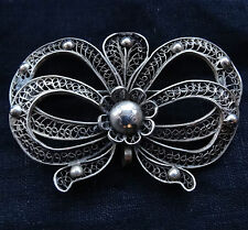 "vintage art deco SILVER filigree 2.25"" pendant & brooch ribbon bow flower -D141"