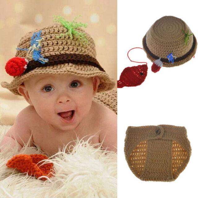 587f7dff9d3a ... hot newborn baby boy fisherman costume crochet knit hat pants  photography prop 48d3c 539cc