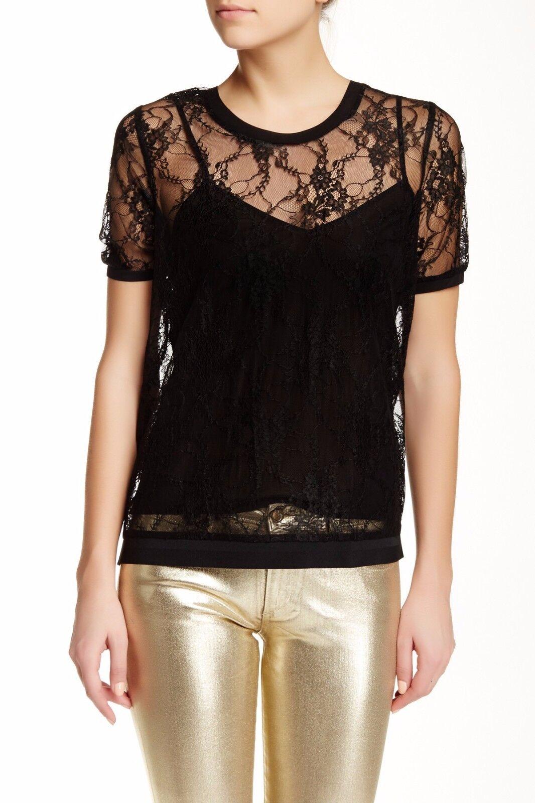 Joe's Jeans Chantal Lace Blouse & Tank Top Shirt 2 Piece Set schwarz XS Nwt