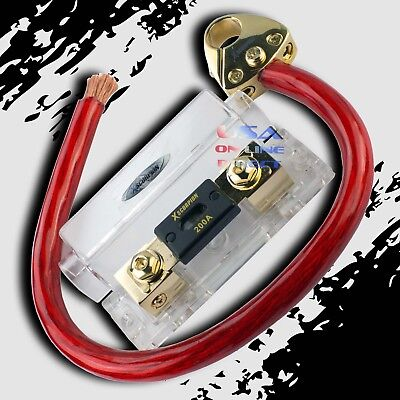 NEW XSCORPION 1//0 GAUGE CABLE KIT WITH PLATINUM ANL FUSE HOLDER