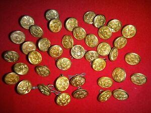Menge Von 41 US Army Goldton Metall Knöpfe Entfernt Von Hemden