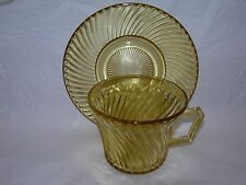 Federal Glass Co. Diana Amber Depression Glass Cups and Saucer/s Nice