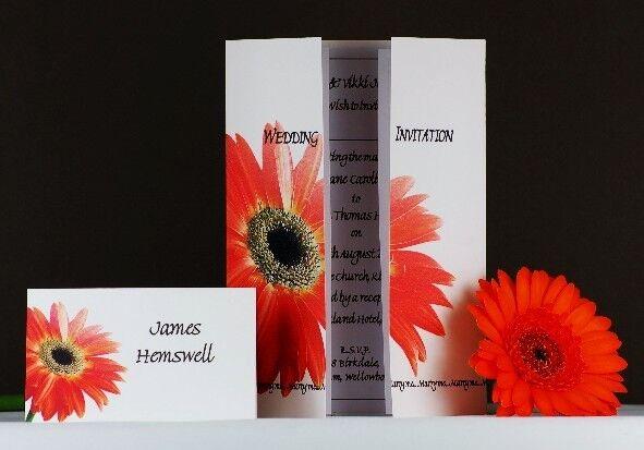 Personalised Wedding Invitations Day & Evening- Orange Gerbera Flower