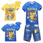 Hot Pokemon Go Pikachu Kids Short Sleeve Tee T Shirt Jeans Short pants sets Gift