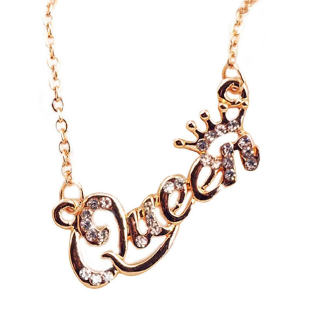 Fashion Gold Letter Queen Pendant Shiny Rhinestone Clavicle Chain Necklace Hs For Sale Online Ebay