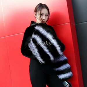 Women-Mink-Fur-Fox-Coat-Jacket-Short-Cape-Fashion-Stand-Collar-Outwear-Casual-SZ