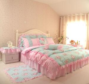 princess blue floral rose bedding duvet comforter cover set king queen full twin ebay. Black Bedroom Furniture Sets. Home Design Ideas