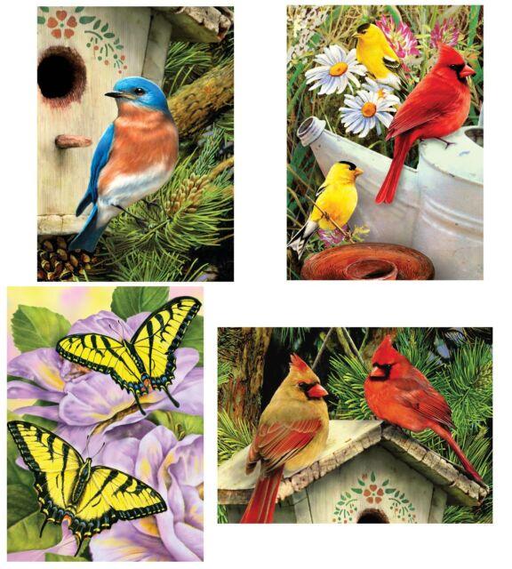 SET 4 x A5 PAINT BY NUMBERS KITS GARDEN BIRDS & BUTTERFLIES PBNMIN113/14/16/18