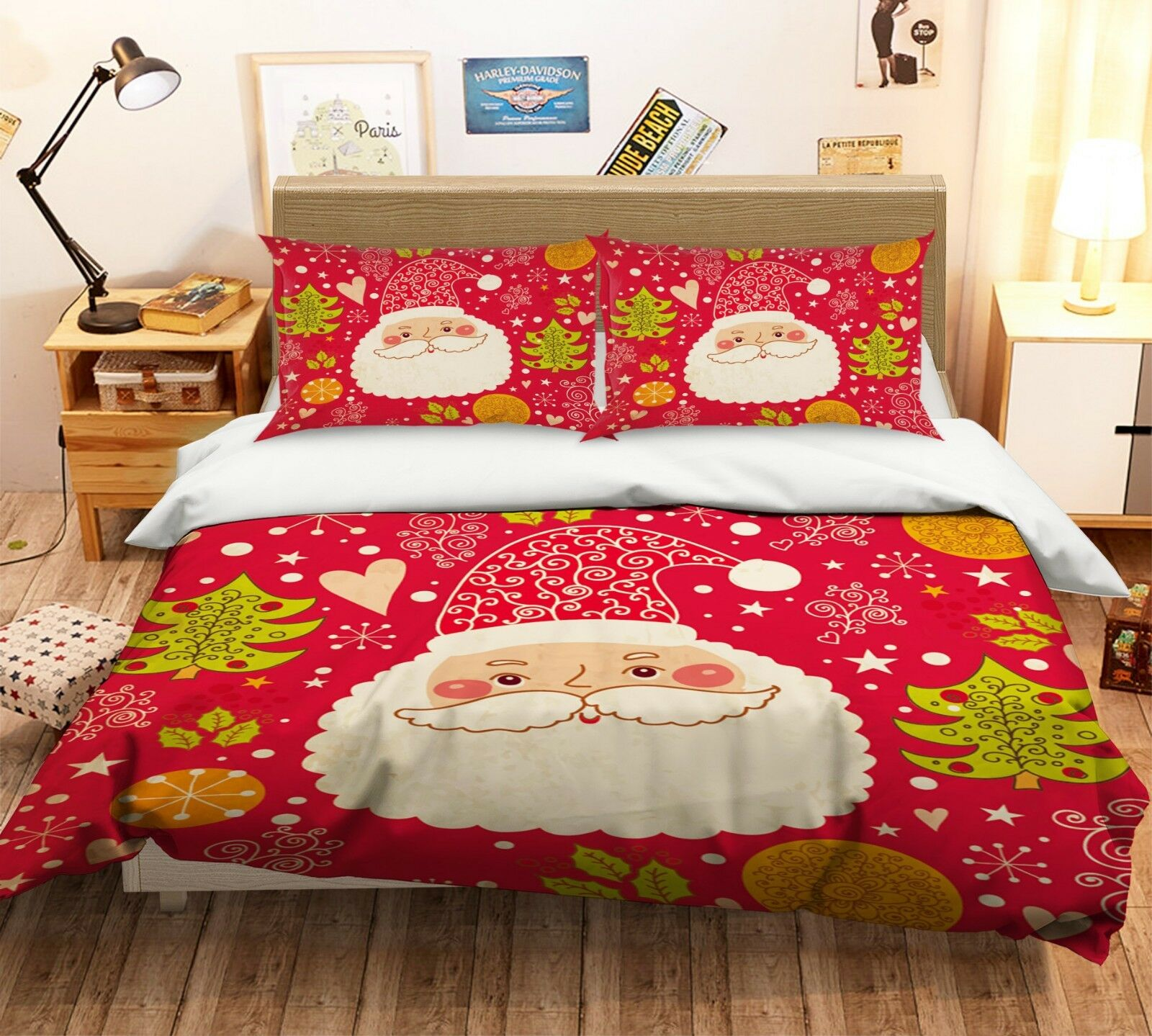 3D Christmas Xmas rot 506 Bed Pillowcases Quilt Duvet Cover Set Single King