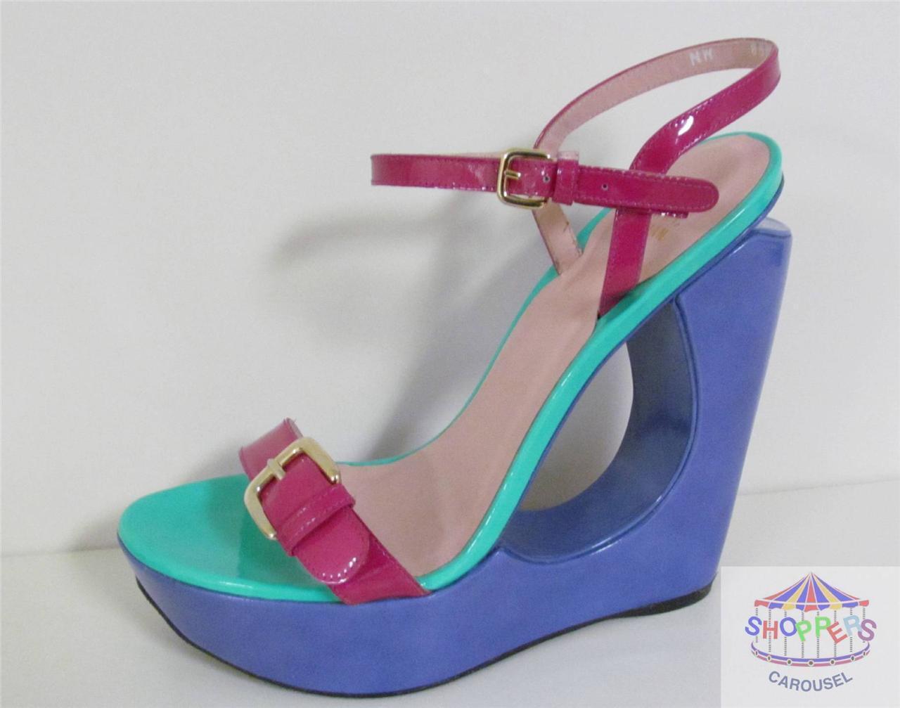 Stuart Weitzman Cortar Cuña Sandalias Zapatos Azul Cuero  Nuevo
