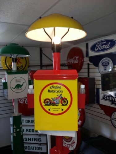 CLASSIC ERA INDIAN MOTORCYCLE PUMP STATION ISLAND LIGHT WITH TOWEL BOX