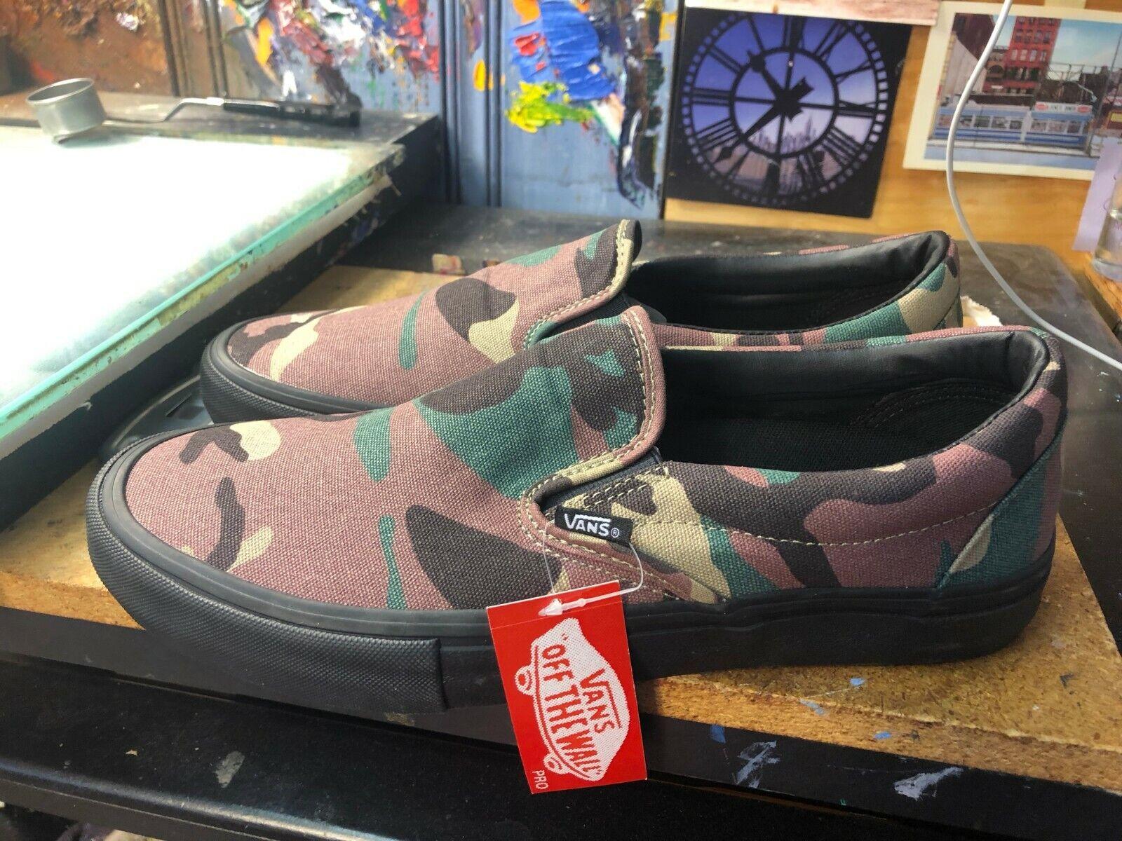 Vans Slip-On Pro Camuflaje Negro Talla EE. UU. para hombres 12 VN 0 a 347 vkaf Nuevo Camuflaje