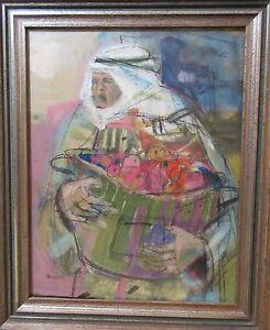 vintage-original-B-Norris-mixed-media-abstract-figural-Arab-Man-oil-painting