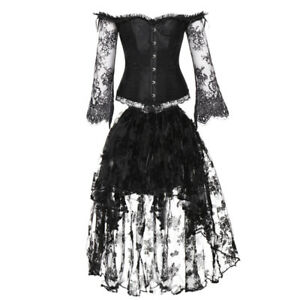 d6da199aa479f Details about Women s Vintage Steampunk Overbust Corset with Off Shoulder  Lace Long Sleeves