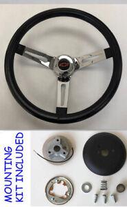1970-73-C10-C20-Blazer-Black-Chrome-Spokes-Steering-Wheel-13-1-2-034-red-blk-Bowtie