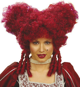 Image is loading BAROQUE-WIG-MEDIEVAL-QUEEN-OF-HEARTS-BURGUNDY-RED-  sc 1 st  eBay & BAROQUE WIG MEDIEVAL QUEEN OF HEARTS BURGUNDY RED VAMPIRE HALLOWEEN ...