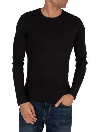 Black Tommy Jeans Men/'s Longsleeved Slim Fit T-Shirt