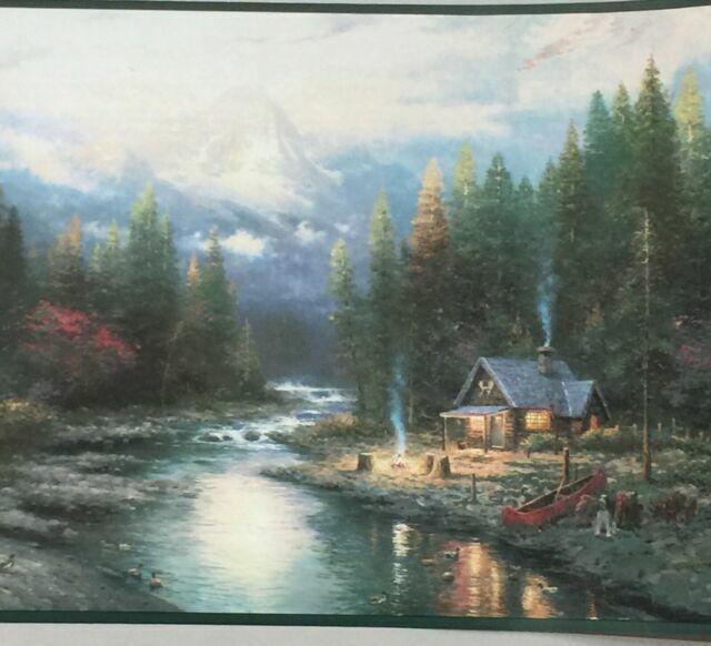 2 Imperial Thomas Kinkade Wallpaper Border Rolls Cabin Canoe Wilderness Outdoors For Sale Online
