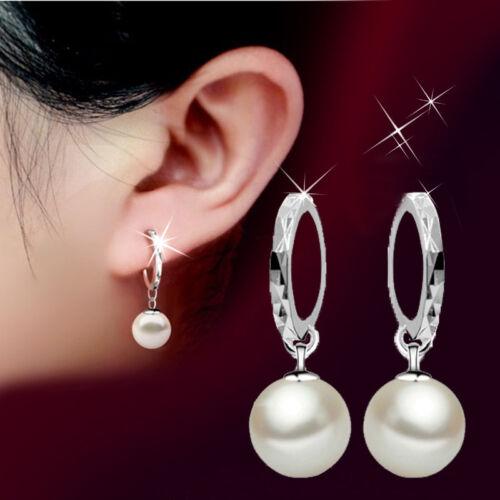 Women Fashion 925 Sterling Silver Pearl Hoop Drop Dangle Earrings Jewelry Gift