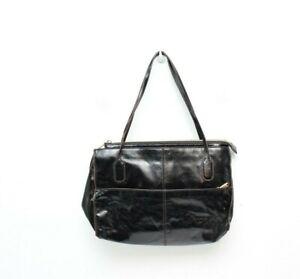 Hobo-International-Black-Leather-Purse-Womens-Zip-Top-Crackle-Leather-Shoulder