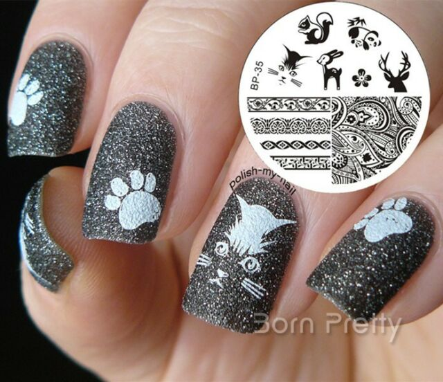 Nagel Schablone BORN PRETTY Nail Art Stamp Stamping Template Plates 35
