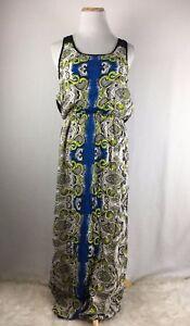 Angie-Women-039-s-Green-amp-Gray-Sleeveless-Floor-Length-Maxi-Dress-Size-Large