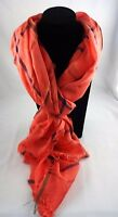 Coral Scarf Blue Green Stripes Fringed Light Wrap Look By M