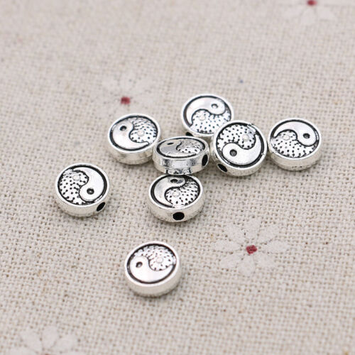 40Ps Silver Yin yang Loose Spacer Beads Jewelry Making Bracelet DIY Accessories