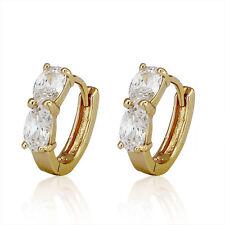 Amazing 18 k Gold Plated Hoop Earrings with White Zircons Hoops E474
