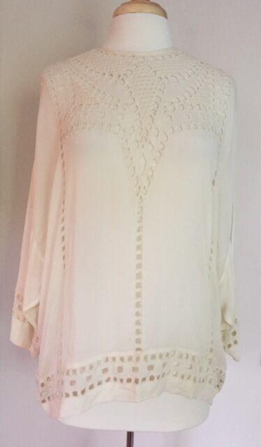 Isabel Marant Etoile SZ FR  34 US 2 Weiß ETHAN Eyelet Tunic Shirt Top