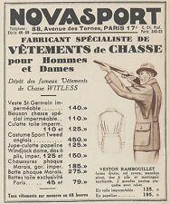 Z9944 NOVASPORT - Vetements de Chasse -  Pubblicità d'epoca - 1937 Old advert