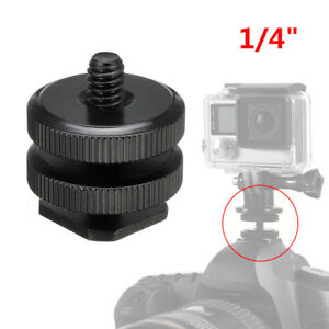 "1/4"" Mount Screw To Flash Hot Shoe Adapter Camera Light Stand Nut For GoPro DSLR"