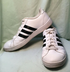 Details about Adidas Neo White With Black Stripes Shoes Men's US Size 9 CloudFoam Footbed