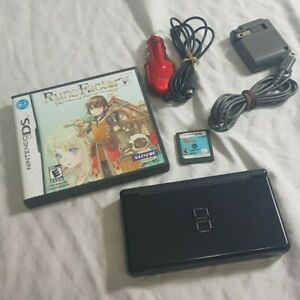 Black-Nintendo-DS-Lite-w-Harvest-moon-Rune-1-Raving-Rabbits-Home-Car-Chargers
