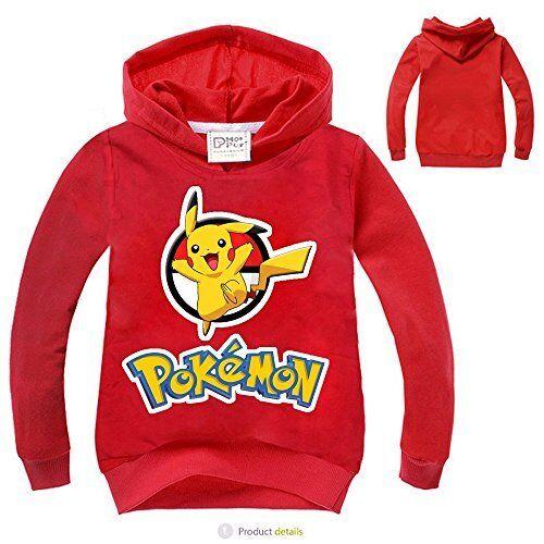 New Boys Pokemon Go Pikachu Pull Over Hoodie Sweater Sweatshirt Costume O34