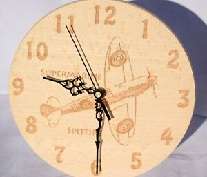 Round-Wooden-Wall-Clock-Aircraft-Spitfire-Blenheim-Personalised-Gifts