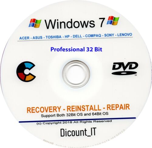Windows 7 Professional 32 Bit X 86 RE disco di installazione e riparazione
