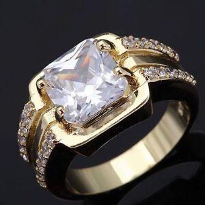 Ring-Gr-64-Fingerring-Gold-gefuellt-Herrenring-Goldring-Siegelring-klar-weiss