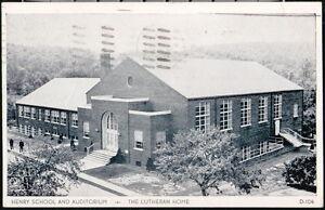 TOPTON PA Postcard Christmas 1959 Henry School Auditorium Lutheran Home Vintage