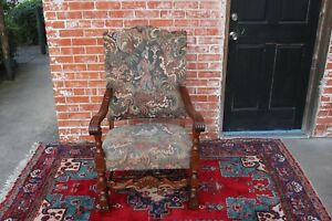 French-Antique-Oak-Louis-XIV-Upholstered-Armchair-Living-Room-Furniture