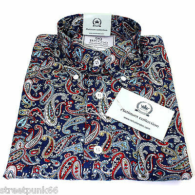 Relco Mens Platinum Navy Paisley Long Sleeved Button Down Shirt Mod Skin 60s