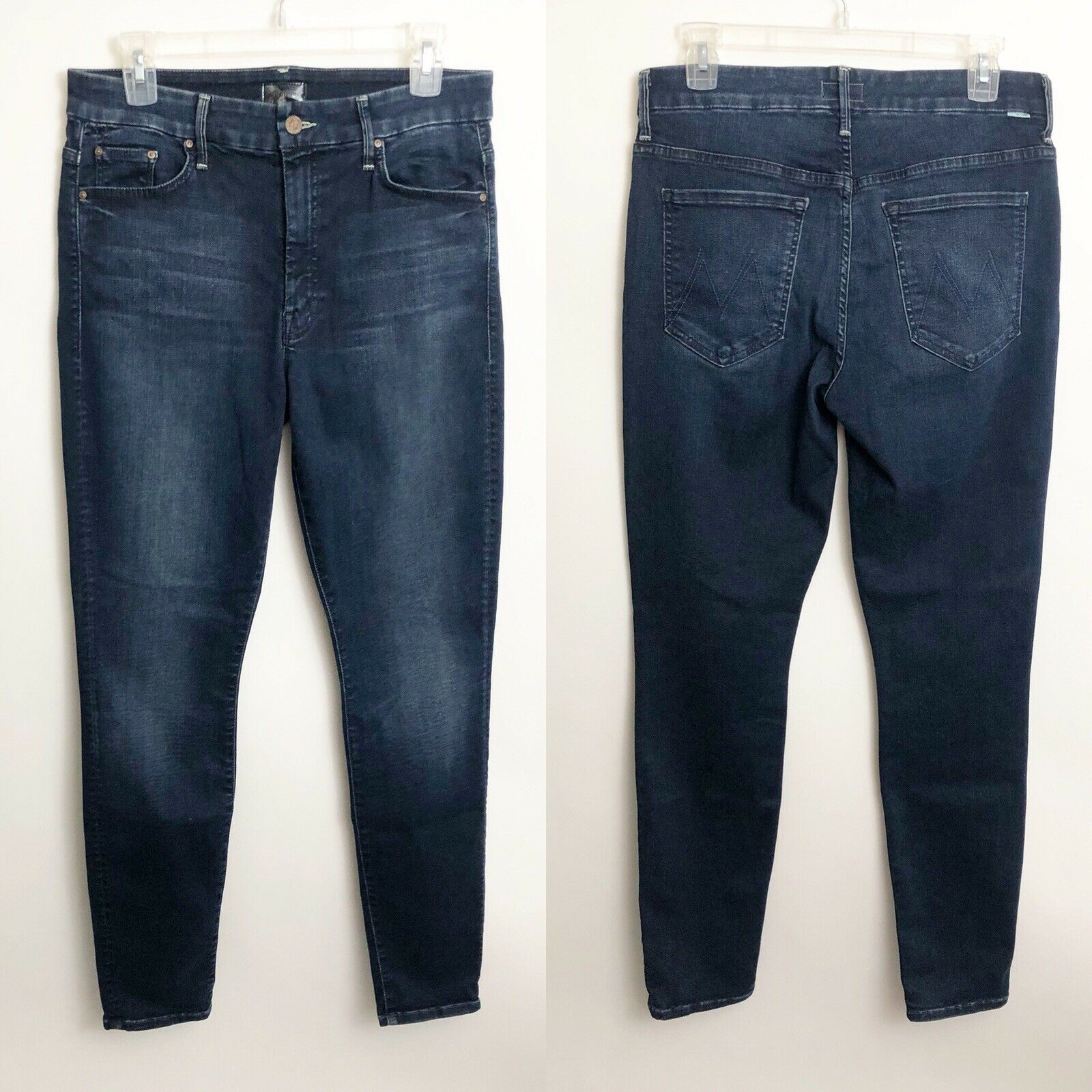 Mother de la alta  cintura Looker Jeans Tamaño 30 foto finish Skinny Dark Wash se desvaneció  diseños exclusivos
