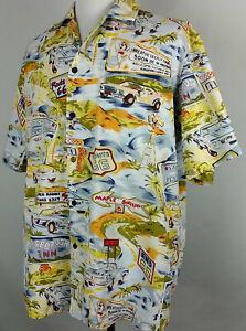 219069203 VTG PACIFIC LEGEND Mens ALOHA HAWAIIAN Shirt Sz XL Yellow USA Road ...