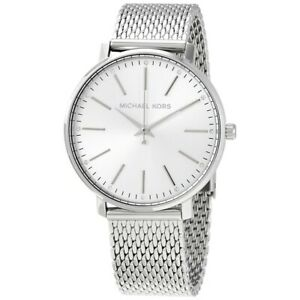 Michael Kors Pyper Quartz Crystal Silver Dial 5ATM Ladies Watch MK4338 New