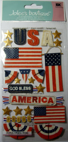 NEW 24 pc GOD BLESS AMERICA Flag Red White Blue Stars 4th Swags USA JOLEES 3D
