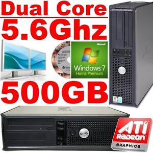 FAST-DELL-5-6Ghz-DUAL-CORE-WINDOWS-7-DESKTOP-PC-TOWER-SFF-COMPUTER-500GB-NEW-GFX