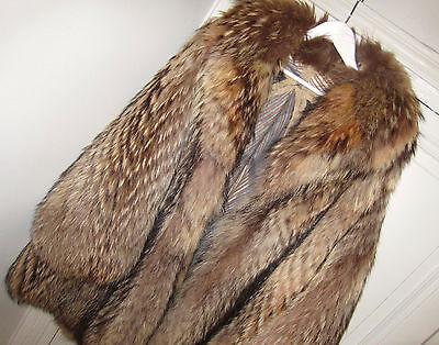 HONEY BLACK Huge XXL OVERSIZE Finn Raccoon Real FUR COAT Fox Extra PLUSH Thick L