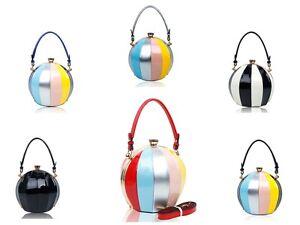 New-Womens-Round-Shaped-Patent-Style-Top-Handle-Handbag-Ladies-Girl-Shoulder-Bag